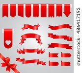 red ribbon vector icon set.... | Shutterstock .eps vector #486417193