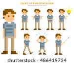 pixel illustration  young men...