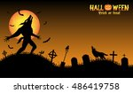 howling werewolf with halloween ...   Shutterstock .eps vector #486419758