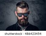 close up portrait of tattooed ... | Shutterstock . vector #486423454