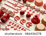 christmas decoration on wooden...   Shutterstock . vector #486436378