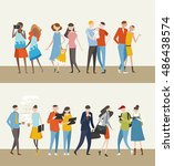 variety people couple  | Shutterstock .eps vector #486438574