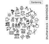 flower and gardening icons... | Shutterstock .eps vector #486440638