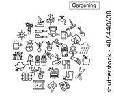 flower and gardening icons... | Shutterstock .eps vector #486440638