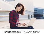 young woman using laptop... | Shutterstock . vector #486445840