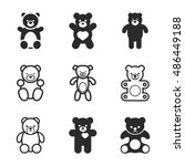 teddy bear vector icons. simple ...
