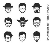 man in glasses vector icons....