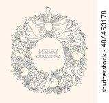 christmas wreath with bow ... | Shutterstock .eps vector #486453178