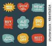 vector set of comic speech... | Shutterstock .eps vector #486456814