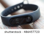 black fitness watch with time... | Shutterstock . vector #486457723