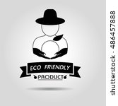 eco friendly product icon with... | Shutterstock .eps vector #486457888