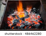 Glowing Hot Charcoal In Bbq...