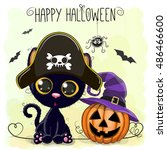 halloween illustration of... | Shutterstock .eps vector #486466600