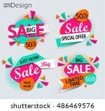 sale   set of bright modern... | Shutterstock .eps vector #486469576