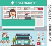 vector pharmacy drugstore set... | Shutterstock .eps vector #486470470
