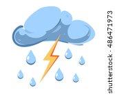 vector cloud with falling rain... | Shutterstock .eps vector #486471973