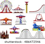 set of amusement park cartoon | Shutterstock .eps vector #486472546