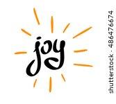 joy word calligraphic logo with ... | Shutterstock .eps vector #486476674