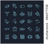 meat and fish icons set | Shutterstock .eps vector #486477538