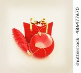 beautiful christmas gifts. 3d... | Shutterstock . vector #486477670