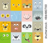 set of color animal faces... | Shutterstock .eps vector #486480700
