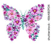 watercolor floral butterflies... | Shutterstock . vector #486480934