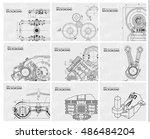 set of technical white... | Shutterstock .eps vector #486484204