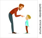scold children.father scolding... | Shutterstock .eps vector #486484690