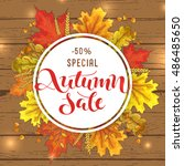 sketch autumn sale circle... | Shutterstock .eps vector #486485650