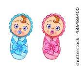 vector cartoon set of newborn... | Shutterstock .eps vector #486486400