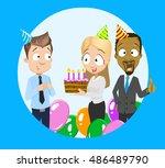 vector office birthday party | Shutterstock .eps vector #486489790