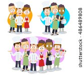 vector cartoon collection of... | Shutterstock .eps vector #486489808