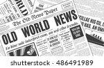 old white newspaper vintage... | Shutterstock .eps vector #486491989