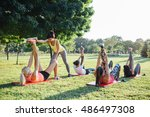 group of women doing stretching ... | Shutterstock . vector #486497308
