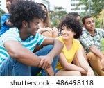 african guy speaking with... | Shutterstock . vector #486498118