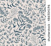 seamless hand drawn floral... | Shutterstock . vector #486504196