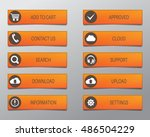 orange web buttons  high... | Shutterstock .eps vector #486504229