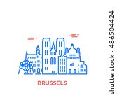 brussels city architecture... | Shutterstock .eps vector #486504424