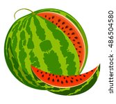 ripe juicy watermelon on a... | Shutterstock .eps vector #486504580