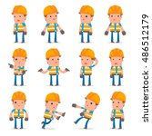 set of confused and sad... | Shutterstock .eps vector #486512179