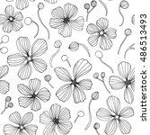 linear flowers   vector... | Shutterstock .eps vector #486513493