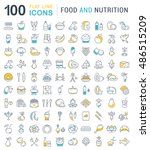 big set vector line icons meal  ... | Shutterstock .eps vector #486515209
