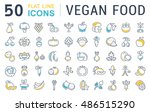 set vector line icons in flat... | Shutterstock .eps vector #486515290