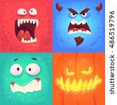 cartoon monster faces vector...   Shutterstock .eps vector #486519796