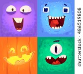 cartoon monster faces vector... | Shutterstock .eps vector #486519808