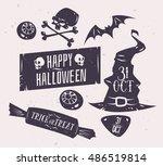 halloween illustration. vector... | Shutterstock .eps vector #486519814
