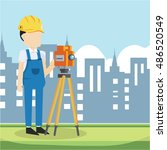 builder surveyor in city | Shutterstock .eps vector #486520549
