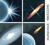 digital vector cosmos icons set ... | Shutterstock .eps vector #486522340