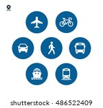transport icons. walk man  bike ... | Shutterstock .eps vector #486522409