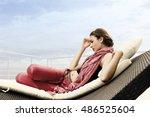 portrait of italian model on... | Shutterstock . vector #486525604